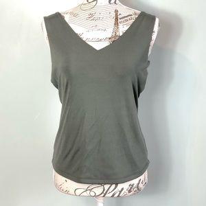 Cache sleeveless blouse green size large V-neck